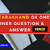 Uttarakhand GK Question And Answer in hindi