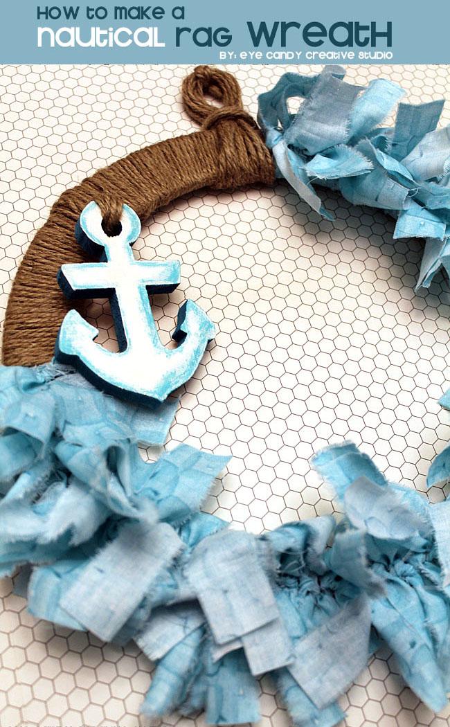 summer wreath, beach theme, nautical wreath, anchor, wreath DIY
