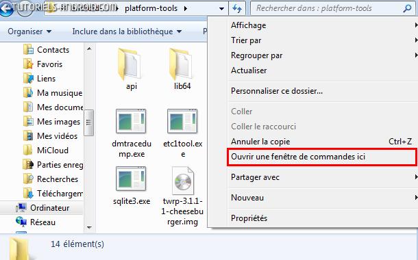 Ouvrir fenêtre de commandes Plateform-Tools - TWRP OnePlus 5