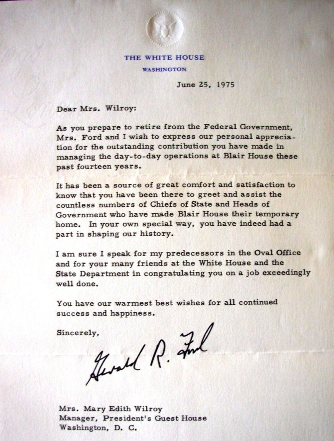retirement letter of appreciation from the president ford disney letter 116