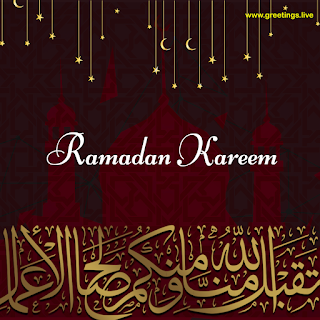Happy ramadan wishes, ramadan Kareem,Red background,mosque,calligraphy,Golden moons,Stars