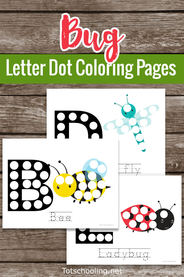 FREE Bug themed Do-a-dot sheets featuring six different bugs and insects along with the beginning letter. Great for preschoolers to practice letter sounds, letter recognition and fine motor skills.