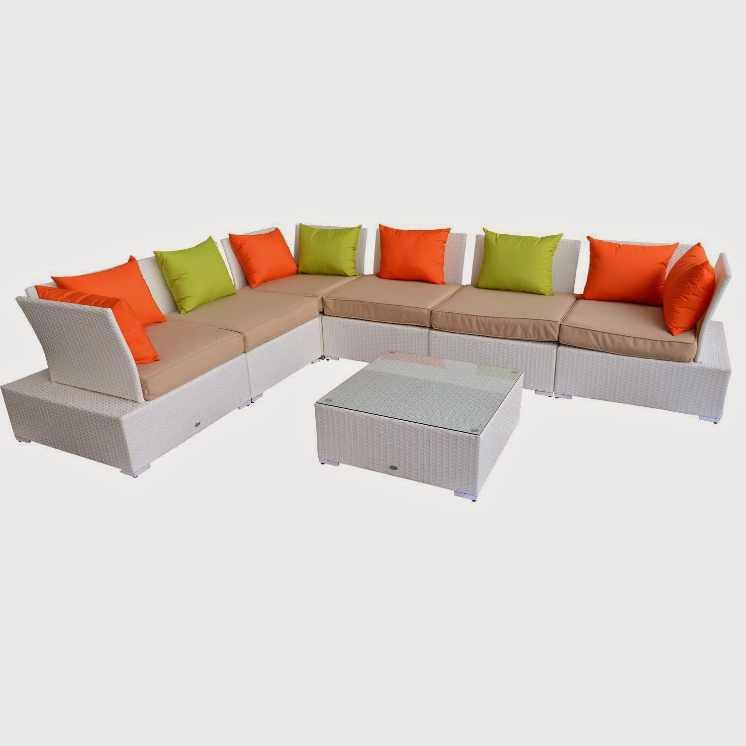 Outsunny Outdoor 7pc PE Rattan Wicker Sectional Sectional Couch Sofa Set