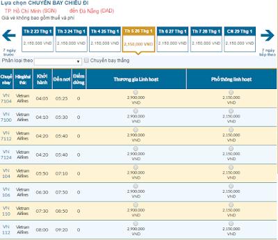 Giá vé máy bay tết đi Đà Nẵng hang vietnam Airlines