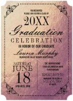 Rose Gold Faux-Foil Grad Party Invitations