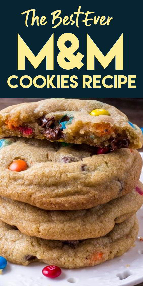 Soft & Chewy M&M Cookies #cookies #desserts #cakes