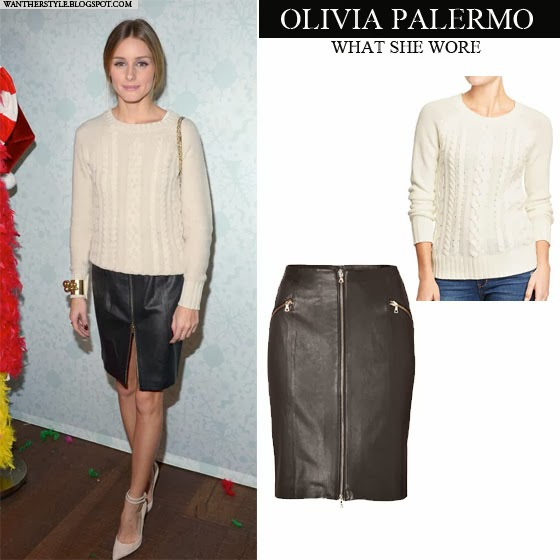 77bd079b5c5 Olivia Palermo in white cream cable knit Old Navy sweater with black  leather zip skirt J