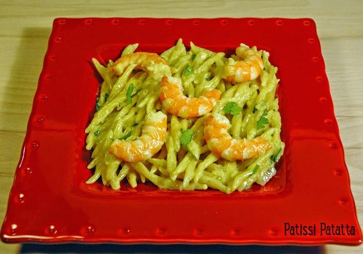 recette de pâtes aux crevettes et lait de coco, pasta with shrimp and coconut milk, recipe exotic pasta, recette de pâtes exotiques