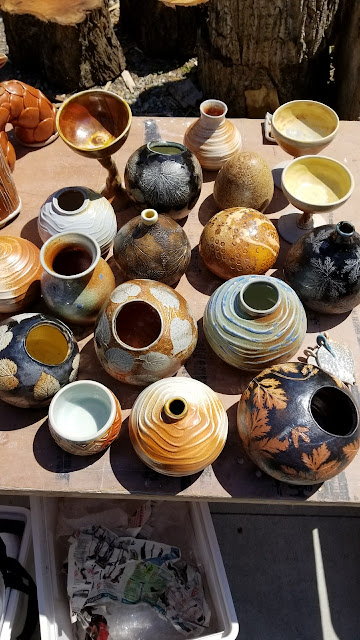Some results of the recent soda firing, beautiful pottery.