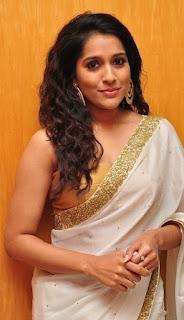 Rashmi Gautam latest transparent saree and sleeveless blouse photos from extra jabardasth tv show   Telugu anchor hot Navel Queens
