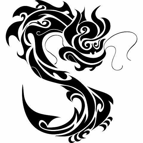 Chinese dragon tattoo stencil