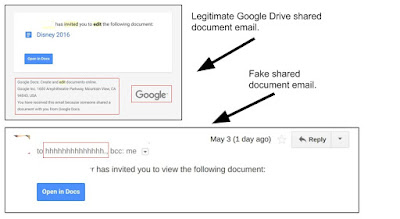 Real vs. fake Google Docs sharing notification