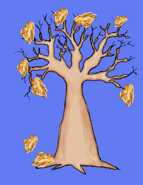 Grade ONEderful: Painted tree on blue paper with cornflakes as leaves