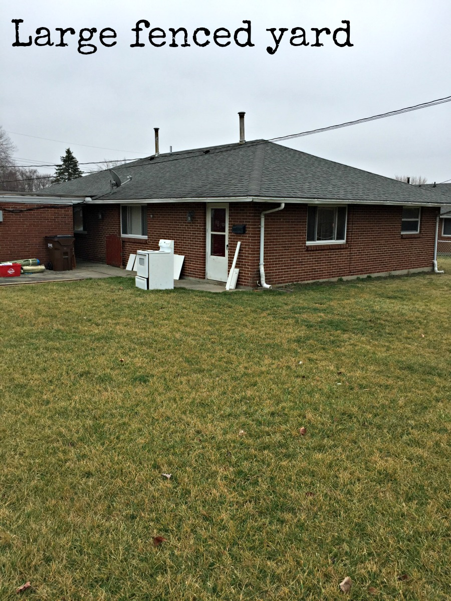 Rental unit with large fenced yard