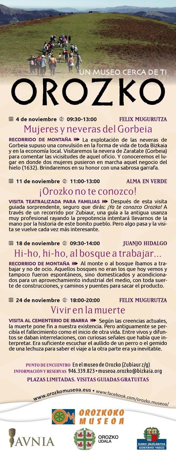 Jornadas del Museo de Orozko. Noviembre 2018.