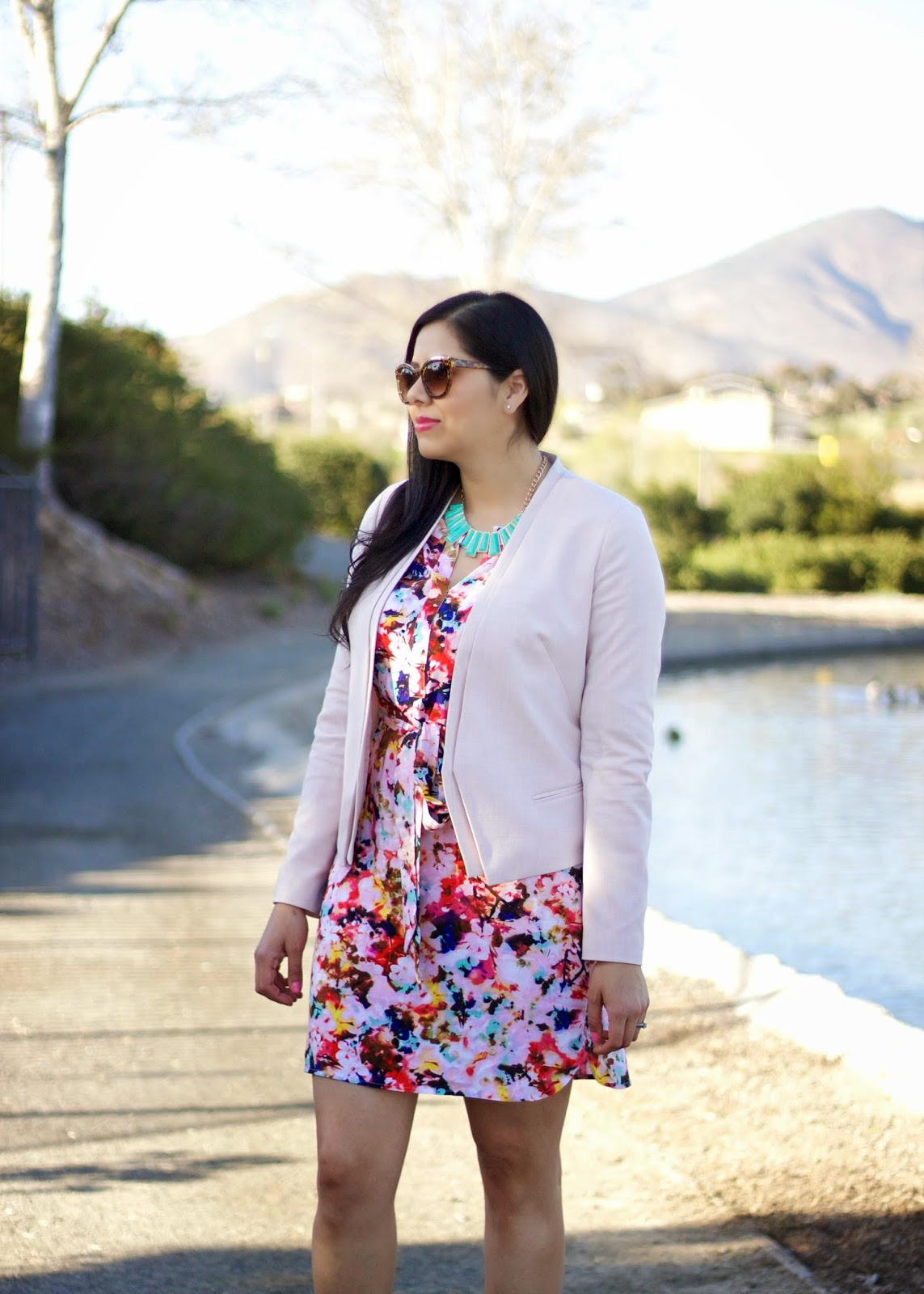 Pastel Pink Blazer, Pink Pastels, jcpstyle, jc penney, florals for spring, floral shirt dress, nude heels, charlotte russe nude heels