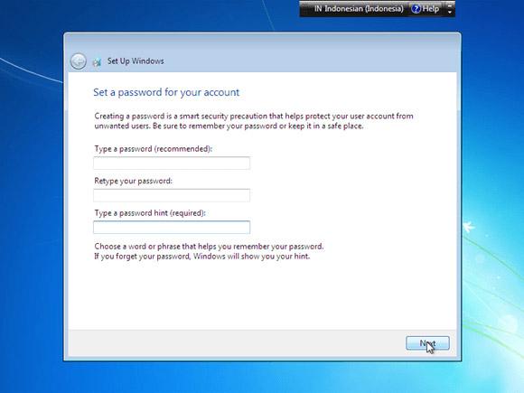 Cara instal windows 7 - buat password user komputer windows 7