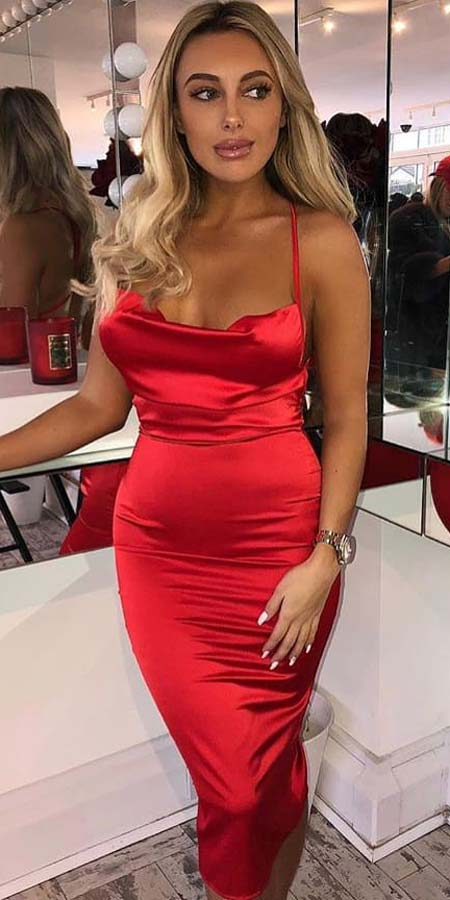 Find sexy valentines day clothes and valentines day fashion. 31+ Cute Valentines Day Outfits for Every Type of Date. Red cowl neck satin midi dress   Valentine style via higiggle.com #valentine #fashion #outfits #love