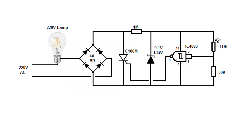 220v photocell switch with 2 wires