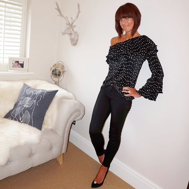 Marks & Spencer spotted one shoulder long sleeve blouse, j crew matchstick skinny jeans, zara court shoes, my midlife fashion