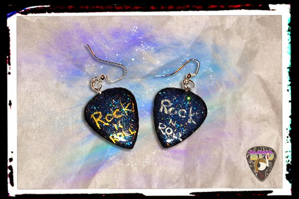 Rock N Roll Guitar Pick Earrings