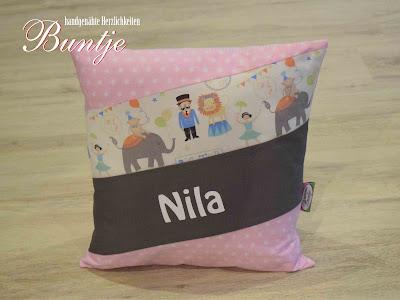 Geschenk Geburt Taufe Kindergarten Namenskissen Kissen Name Mädchen Nila Zirkus Löwe rosa grau Sterne
