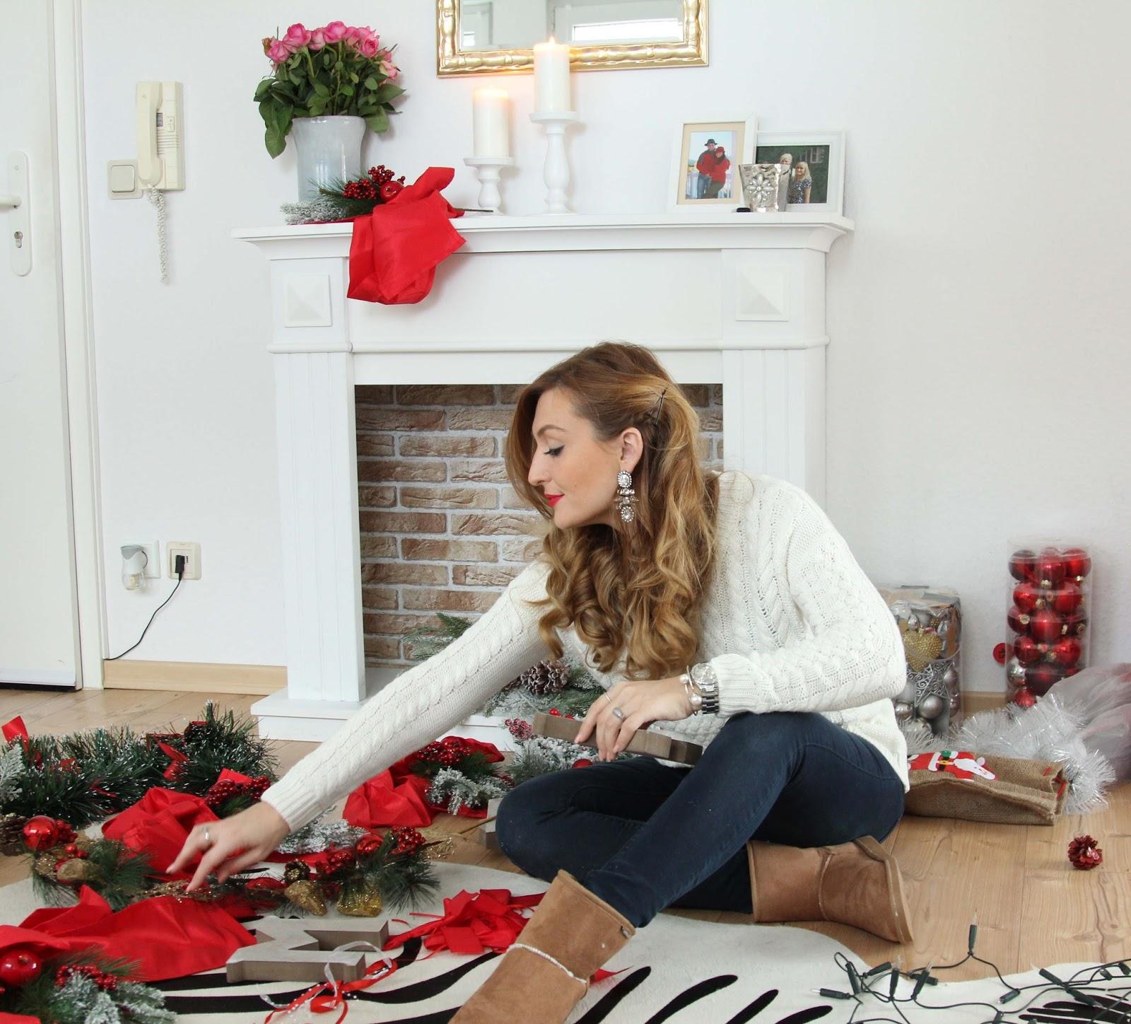 Beflockter-Weihnachtsbaum-Blogger-Fashionblogger-Deko-Weihnachtsdekoration- Wie schmücke ich zu Weihnachten