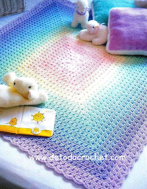 6 mantas infantiles al crochet moldes y paso a paso - Manta de bebe a ganchillo ...