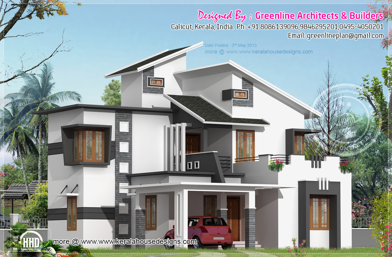 1903 3 bedroom modern house elevation home for Kerala residential building elevations