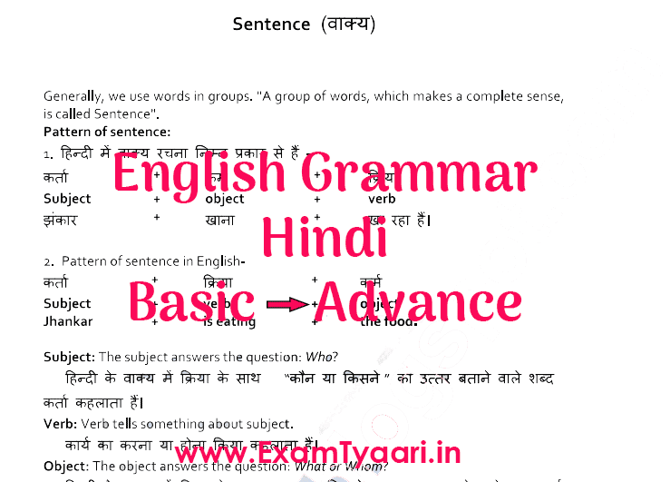 English Grammar PDF Rules by VK Patel in Hindi • Exam Tyaari