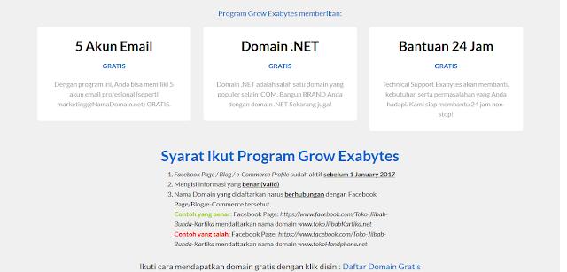 Dapatkan Domain Gratis .net dari Exabytes