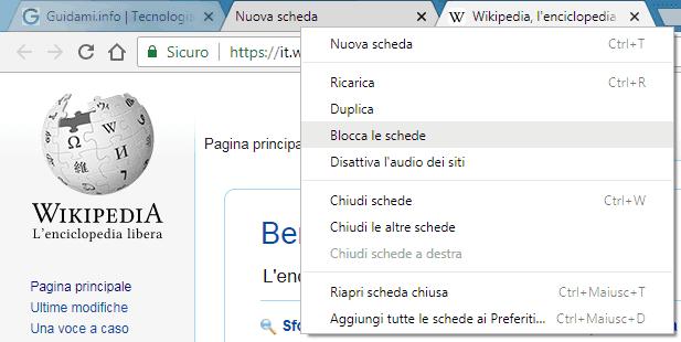 Chrome menu contestuale schede multiple selezionate