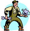 Cartoon Plumber holding Wrench