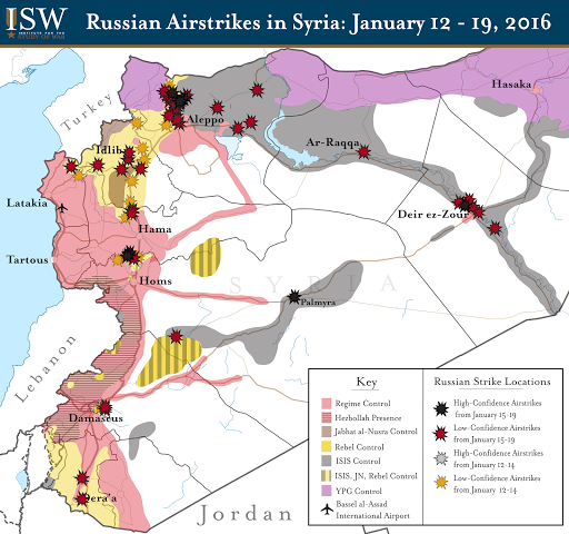 Russian Airstrikes in Syria: January 12 - 19, 2016