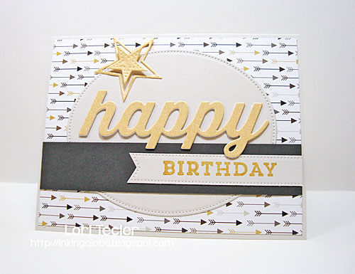 Gold and Gray Happy Birthday card-designed by Lori Tecler/Inking Aloud-stamps and dies from My Favorite Things