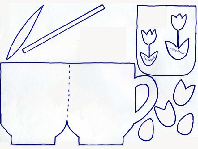 Manualidades con mis hijas: Tarjeta de taza con flores para el Día ...