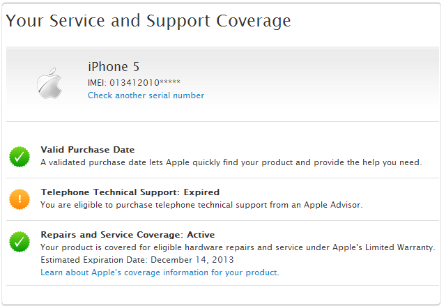 apple iphone warranty check apple support check your service and support coverage 13484