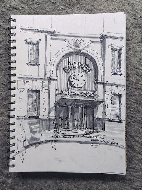 ký họa bưu điện thành phố