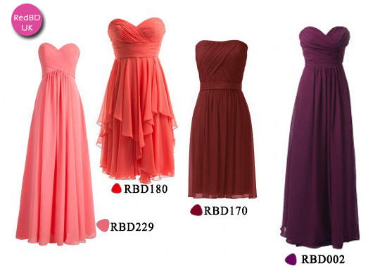 affordable strapless bridesmaid dresses in RedBD
