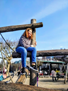 Top Ender looking tiny on a climbing frame in Amsterdam.