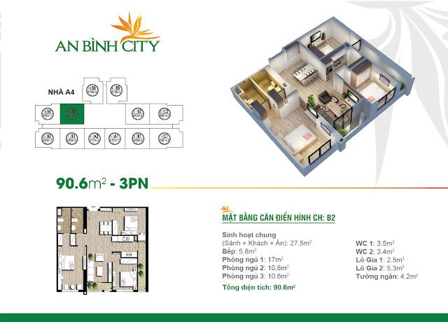 Mặt bằng căn hộ B2 An Bình City