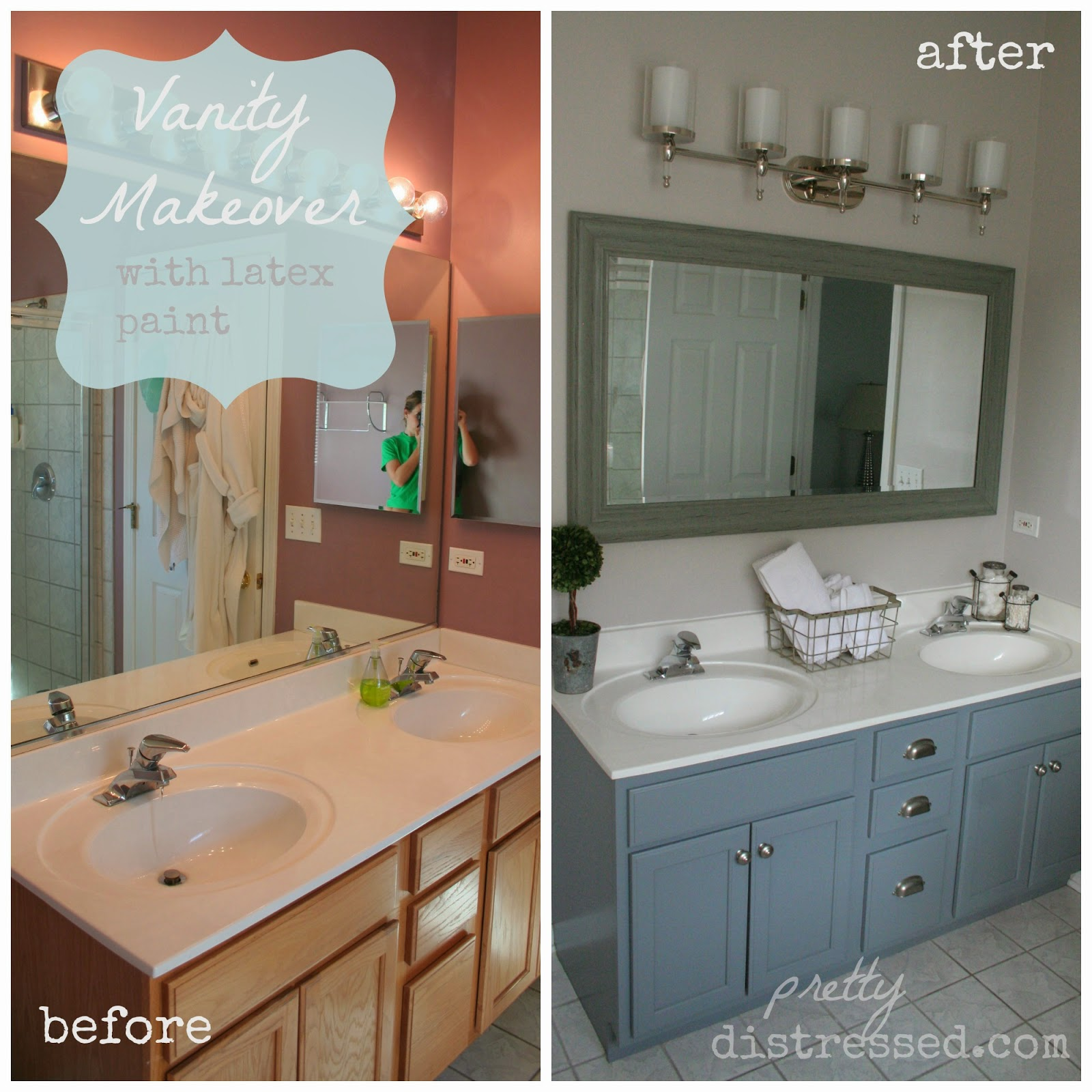Painted Bathroom Vanity Pretty Distressed Happy 1st Birthday