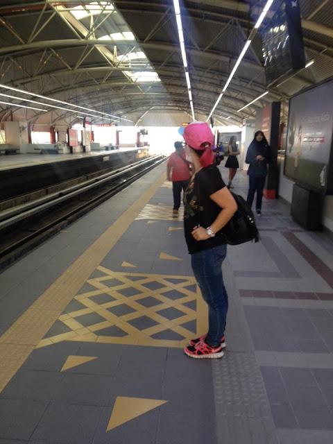 waiting for LRT train