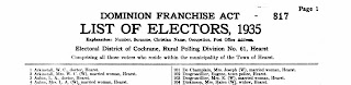 Eugene Desgroseilliers on the 1935 list of electors for Hearst Ontario
