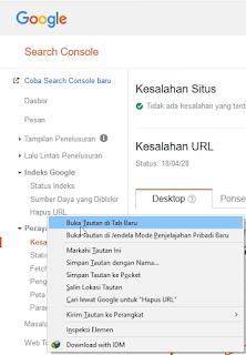 Indeks Google > Hapus URL