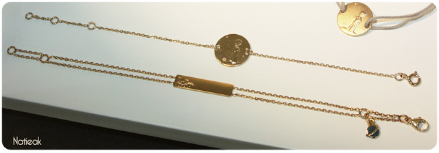 bracelet Planète 18 k et Gourmette identité bébé représentant le petit Prince allongé