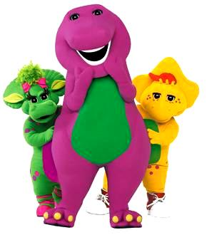 Dibujo de Barney con Baby Bop y B.J.
