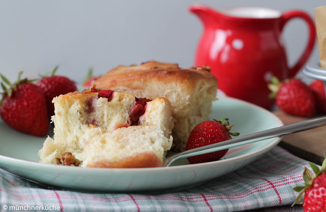 Sticky Buns with Strawberry.