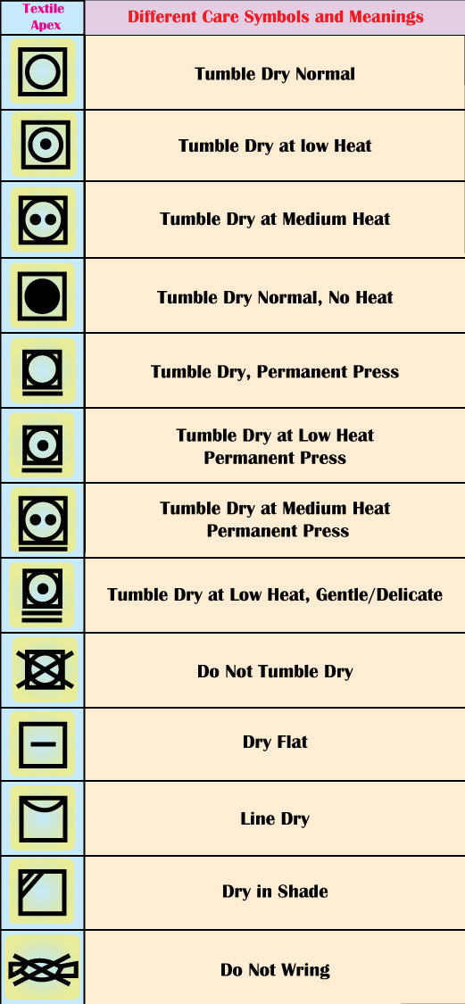 Garment Drying Care symbols