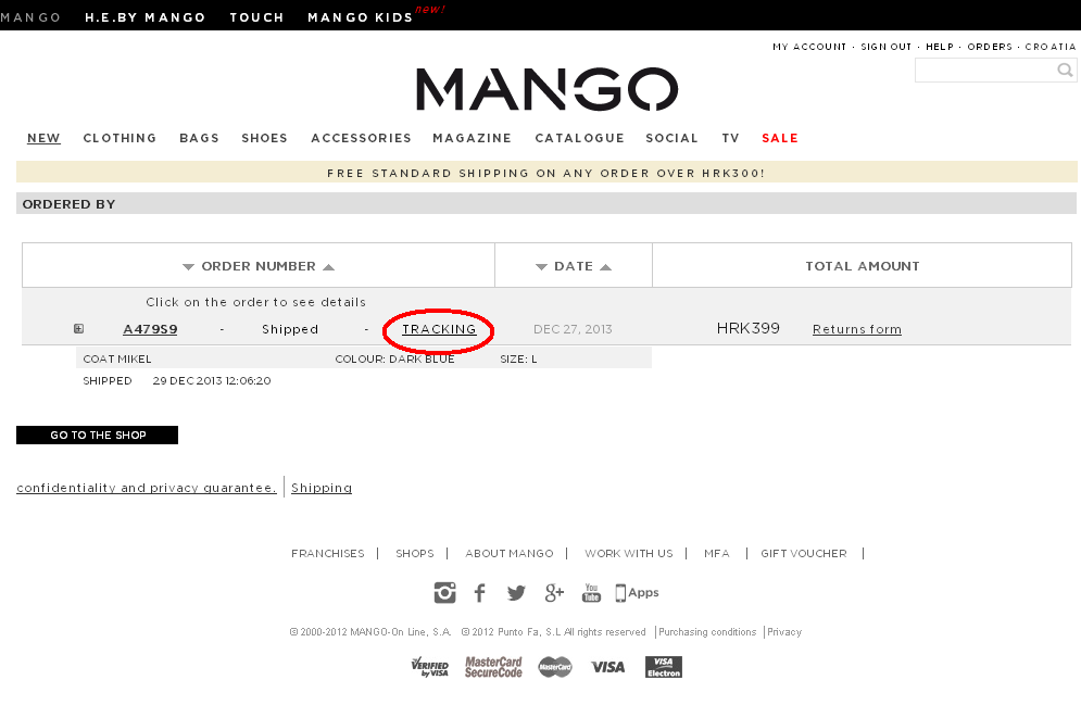 "Mango page ""Orders"", on-line shopping, Mango"